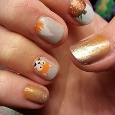 The cutest Fall Nails! Jamberry Faux Fox, Pumpkin Spice, and Maple Sugar. Order at https://cuteclassyjams.jamberry.com/. Photo from becca4jams