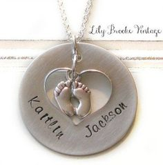 New Mom, Push Present, Hand Stamped Personalized Mommy Necklace - Baby Feet, New Baby