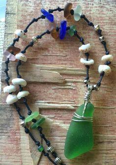 "Beach Bumb Sea Glass Necklace 22"" HandMade Surf Tumbled Sea Shell Cord #Handmade #Beaded"