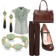 Great outfit! Conservative, yet girly. Love this color!