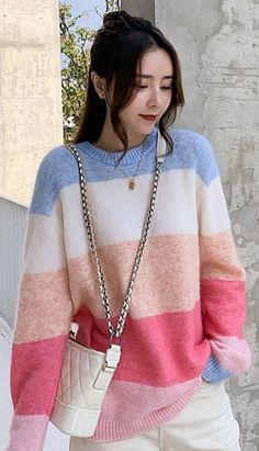 Fashiontroy Street Style long sleeves crew neck multi-color oversized striped color-block cotton blend sweater spring summer Petite Clothing Online, Asian Street Style, Petite Outfits, Workout Wear, Korean Fashion, Crew Neck, Spring Summer, Fashion Outfits, Long Sleeve