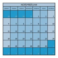 November  2018 calendar planer three shades blue poster - diy cyo customize gift idea personalize