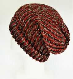 Check out this item in my Etsy shop https://www.etsy.com/uk/listing/534119306/red-and-grey-slouch-hat-recycled-yarn