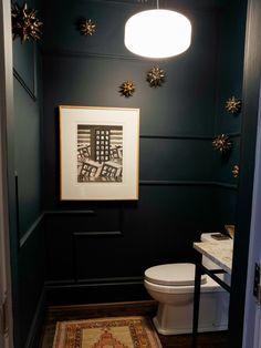Aménagement WC peinture grise pour agrandir l\'espace | Powder room ...
