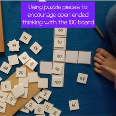 """I am a big fan of the hundred board and a big fan of open ended maths questions. This week I have been combining both I gave my students these puzzles pieces and then gave them a number. I said """"One of the numbers on this board is 43 (you can use whatever number you want) Put it on the board and fill in the other numbers. There are lots of different possible answers."""" Both of these students put the '43' in the same place as each other. Montessori Math, Montessori Elementary, Elementary Math, Math Questions, Puzzle Pieces, Maths, Puzzles, Fill, Puzzle"""