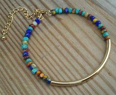 Adjustable Beaded Bangle Bracelet Gold Silver Turquoise by CMDetc, $9.00