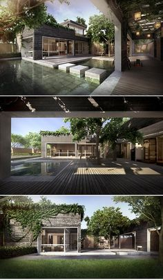 courtyard - I think stepping stones would be great between entry to living through atrium.  Could be pebbles or grasses instead of water. Architecture Durable, Contemporary Architecture, Interior Architecture, Architecture Courtyard, Courtyard Design, Casa Patio, Shipping Container Homes, Shipping Containers, Container Architecture