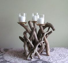 Driftwood 3 Candle Candelabra Driftwood Candle Holder
