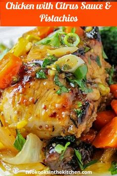 Company chicken with citrus, carrots, prunes & pistachios is a treat for the eyes, taste buds and cook (make-ahead). The flavors blend beautifully and the presentation is eye popping. #companychicken #makeaheadchickenrecipes #bakedchickenrecipes Baked Chicken Recipes, Turkey Recipes, Chicken Receipe, Meal Recipes, Drink Recipes, Recipies, Dinner Party Recipes, Dinner Ideas, Vegetarian Appetizers