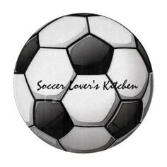 "A fun sports themed glass cutting board featuring an illustration of a soccer ball, with the text, ""Soccer Lover's Kitchen"" #soccer #sports #kitchen"