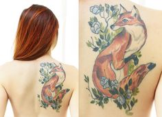 Fox back tattoo with flowers by Kurt Fagerland of Decatur GA