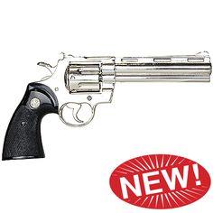 """Zombie Killer Replica Nickel .357 Police Magnum 6 Barrel Non-Firing Gun"""