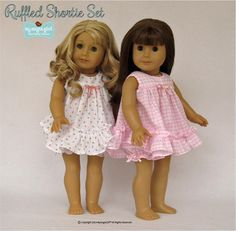 The My Angie Girl Ruffled Shortie Set 18 inch Doll clothes pattern. The Ruffled Shortie Set is a Baby-Doll style pajama gown and panties set, perfect for summer slumber parties or sleep-overs at Grandma's house!