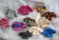 Mini sweaters. Miniature crocheted sweaters. Cottage chic. Key chain sweaters.