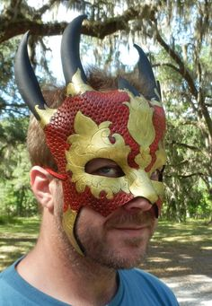 Leather Chinese Dragon Warrior Mask by FoxAndDragon on Etsy, $124.99
