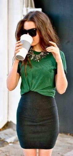Green shirt, high waist skirt and statement necklace