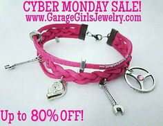 CYBER MONDAY STARTS NOW! Hot Pink Leather Car Part Charm Bracelets, made by me! Enter TURKEY at checkout for a random discount up to 80% OFF! www.GarageGirlsJewelry.com #garagegirls #cybermonday #sale #automotivejewelry #carjewelry #theoriginal #handmade #turbo #turbocharm #steeringwheel #steeringwheelcharm #turbobracelet #cargirljewelry #driftjewelry #carparts