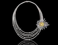 http://www.NiravModi.com/ Sunburst #Necklace, featuring a detachable #Brooch composed of a cluster of fancy yellow radiant-cut diamonds, appears on the pages of 'Essence of a Bride'