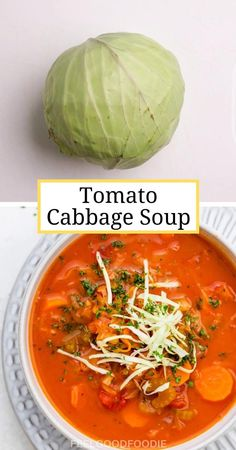 This Tomato Cabbage Soup is vegan, easy to make and low in calories. It's perfect for anyone dieting, cleansing or just looking for a light and health lunch | Healthy Soup | Healthy Recipes | Detox Recipes | #tomato #soup #detox #lunch #cabbagesoup #tomatosoup #feelgoodfoodie Tomato Soup Recipes, Easy Soup Recipes, Easy Healthy Recipes, Cooking Recipes, Detox Recipes, Healthy Cabbage Recipes, Health Food Recipes, Healthy Recipe Videos, Shrimp Recipes