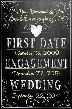 Custom Bridal Shower Chalkboard Bride, wedding sign customized, important dates for bride and groom Bridal Shower Chalkboard, Chalkboard Wedding, Bridal Shower Signs, Chalkboard Quotes, Fall Wedding, Our Wedding, Dream Wedding, Wedding Table, Wedding Reception