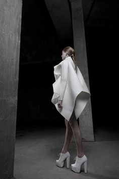 Sculptural Fashion - short white dress with soft folded construction, voluminous shapes & 3D silhouette // Anja Dragan