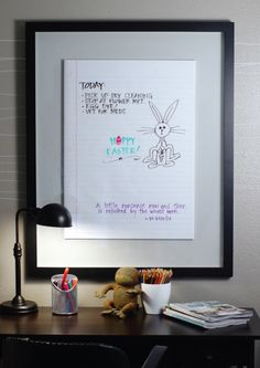DIY - large notebook paper white board (in shadow box frame) for my little kiddo to practice her letters on