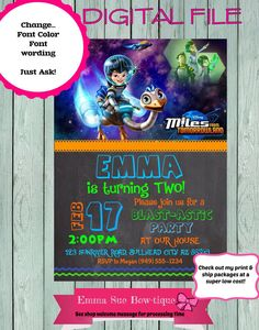 22 Best Miles From Tomorrowland Birthday Invitation Printable