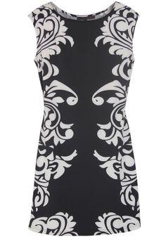 Black Round Neck Sleeveless Floral Bodycon Dress