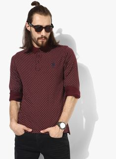 f21df67c24 Buy U.S. Polo Assn. Maroon Printed Straight Fit Polo T-Shirt for Men Online
