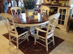 A traditional wooden table and chair set with a matching cabinet! #shopGF   Houston TX   Gallery Furniture  