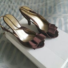 Me too 7.5 purple sling back bow satin heels Size 7.5 Worn a few times Few scuffs on the bottom me too Shoes Heels