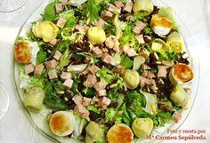 """Ensalada """"Vicen"""" (pollo, alcachofas y queso de cabra) - Recetasderechupete.com"""