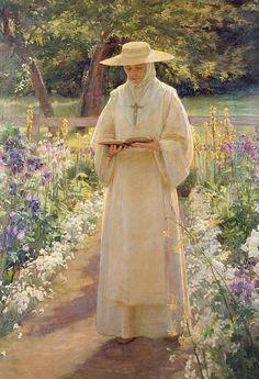 The Silent Life Poster by Dora Noyes Catholic Art, Religious Art, Religion, Beautiful Paintings, Beautiful Images, Jesus Christus, Life Poster, Bride Of Christ, Garden Painting