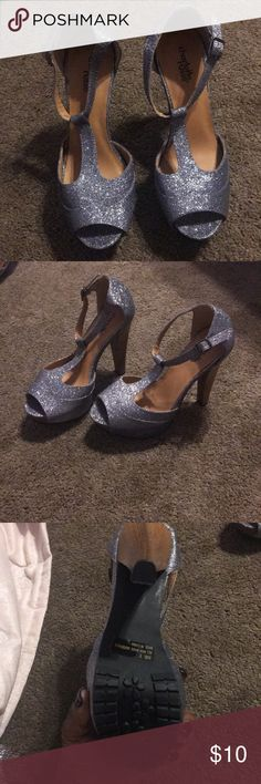 Heels Silver sparkly heels Dollhouse Shoes Heels