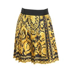 Museum Quality Gianni Versace Silk Baroque Printed Pleated Skirt Fall 1991 | 1stdibs.com