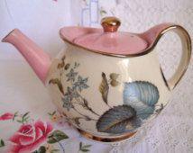 Vintage SUDLOWS Burslem tetera, juego de té rosa con motivo floral y bandas de brillo dorado. Sudlows burslem Floral juego de té. Período prop tetera.