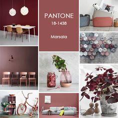 Moodboard Pantone Marsala trendkleur 2015. DockDesignshop is gespecialiseerd in de realisatie van zakelijke interieurs. Moodboard met design van Normann Copenhagen, Muuto, HAY.
