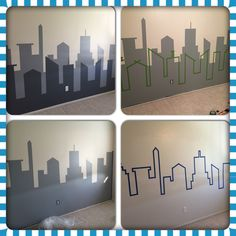 Our final city scape project for baby Henrys room. Im pretty proud of how it turned out. Marvel Bedroom, Batman Bedroom, Baby Boy Rooms, Baby Room, Toddler Rooms, Toddler Bed, Avengers Room, Boys Bedroom Decor, Teen Bedroom
