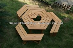 Hexagon BBQ wood picnic table and chair