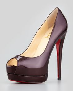 X1THJ Christian Louboutin Palais Royal Platform Pump, Rouge Noir Love the Color !!! these would look incredibly sexy on my girfriend