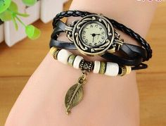 Free shipping Crazy Feng Charm Good sales top quality New Colorful Multilayer Faux Leather Band Wrap Bracelet Wrist Watch Women