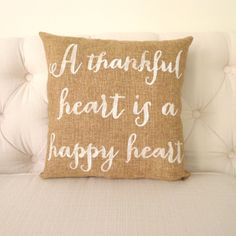 Thankful Heart Burlap Pillow FREE SHIPPING by KatieScarlettCo, $26.50