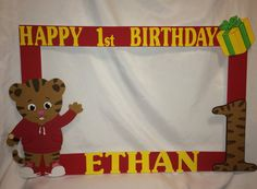 daniel the tiger inspired photo frame party by titaspartycreations