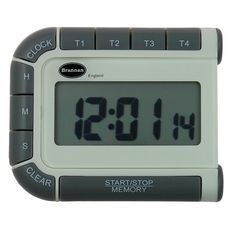 This device features 4 timers in one compact unit with 24 hour countdown and count up function. It also beneifts from a large easy to read display and a 12/24 hour clock. This kitchen timer comes complete with stand and magnetic clip. Batteries included.