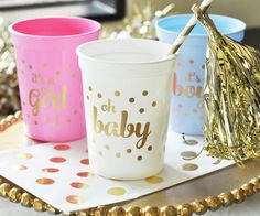 25 Baby Shower/Gender Reveal Cups  Choose by PartiesandGlitter