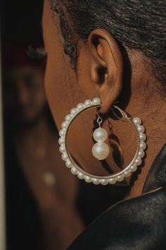 The perfect pearl hoop earrings for any occasion Gold Hoops, Oysters, Hoop Earrings, Pearls, Shop, Jewelry, Jewlery, Jewerly, Beads