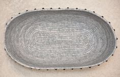 BLING Basket: Grey/Silver with Lace/Sequins Trim and Amethyst Crystals - Oval LARGE by HandMadeBySandraM on Etsy