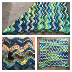 Wavy blanket for a baby boy plus a crocheted L for his initial sewn onto it!