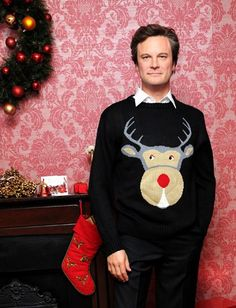 "Colin Firth in a reindeer outfit :) Le musée Madame Tussauds a habillé la copie en cire de Colin Firth en Mark Darcy, personnage du ""Journal de Bridget Jones"""