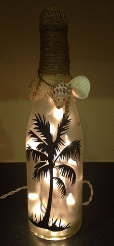 Lighted Wine Bottle/ Decoration/ Gift/ Beach House - Beach Palm Tree/ Frosted Glass with Burlap, Jute and Sea Shells/ White Lights